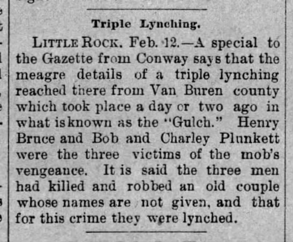 Newspaper clipping of TRIPLE LYNCHING of Henry Bruce, and Bob and Charley Plunkett.  Bob and Charley were not included in Wells' Record.