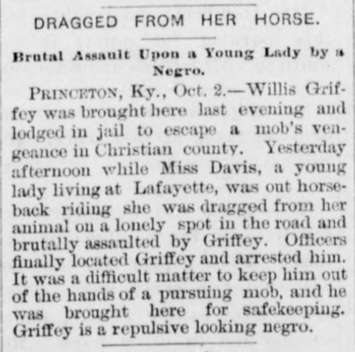 Newspaper clipping  regarding the lynching of Willis Griffey.
