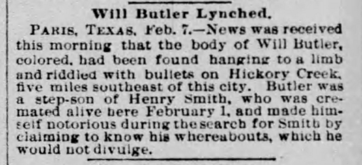 Newspaper clipping regarding the lynching of William Butler.