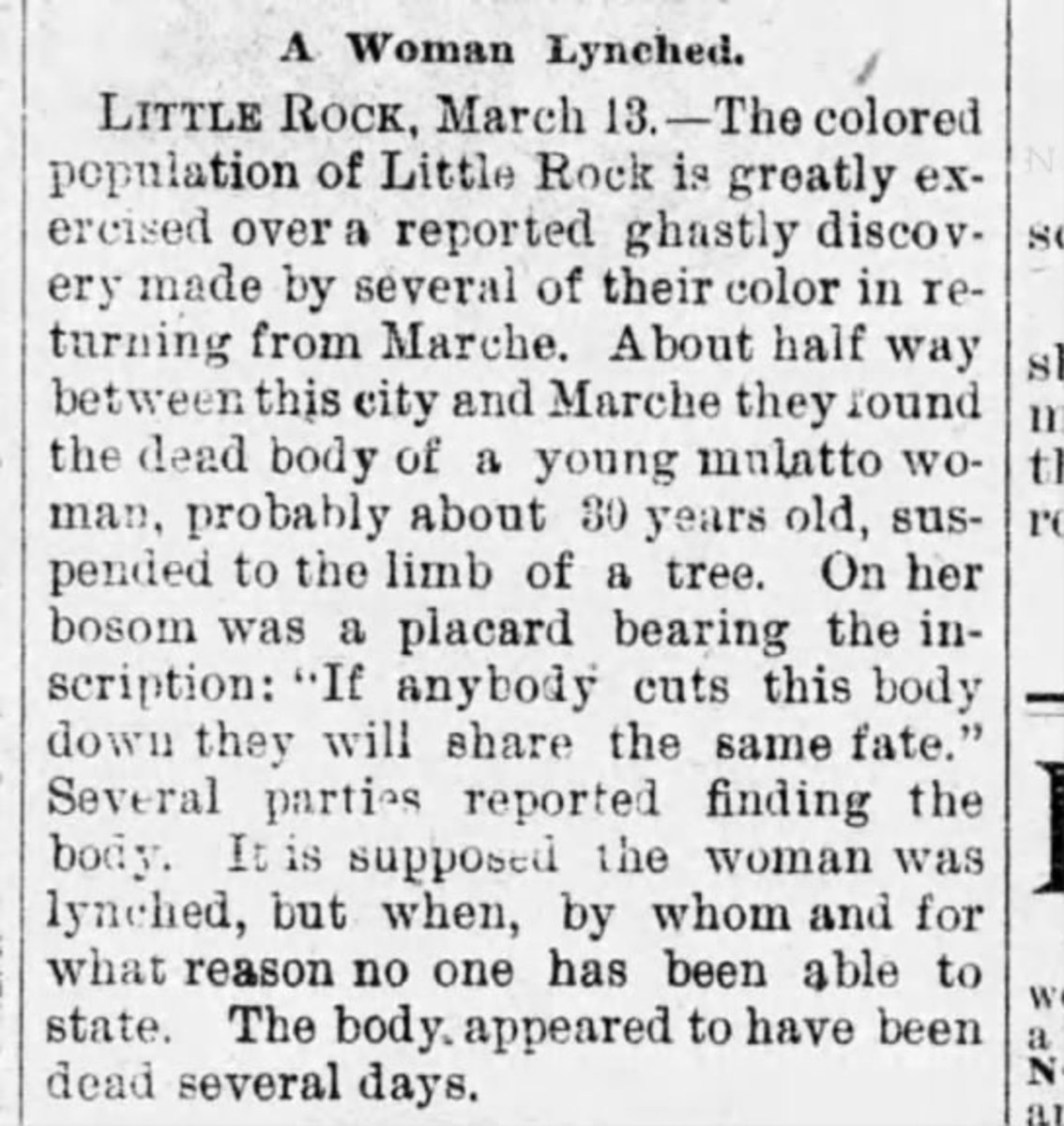 Newspaper clipping for woman lynched near Marche, Arkansas.