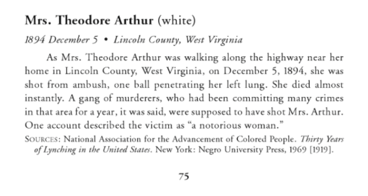 Book excerpt regarding lynching of Mrs. Teddy Arthur, white woman.