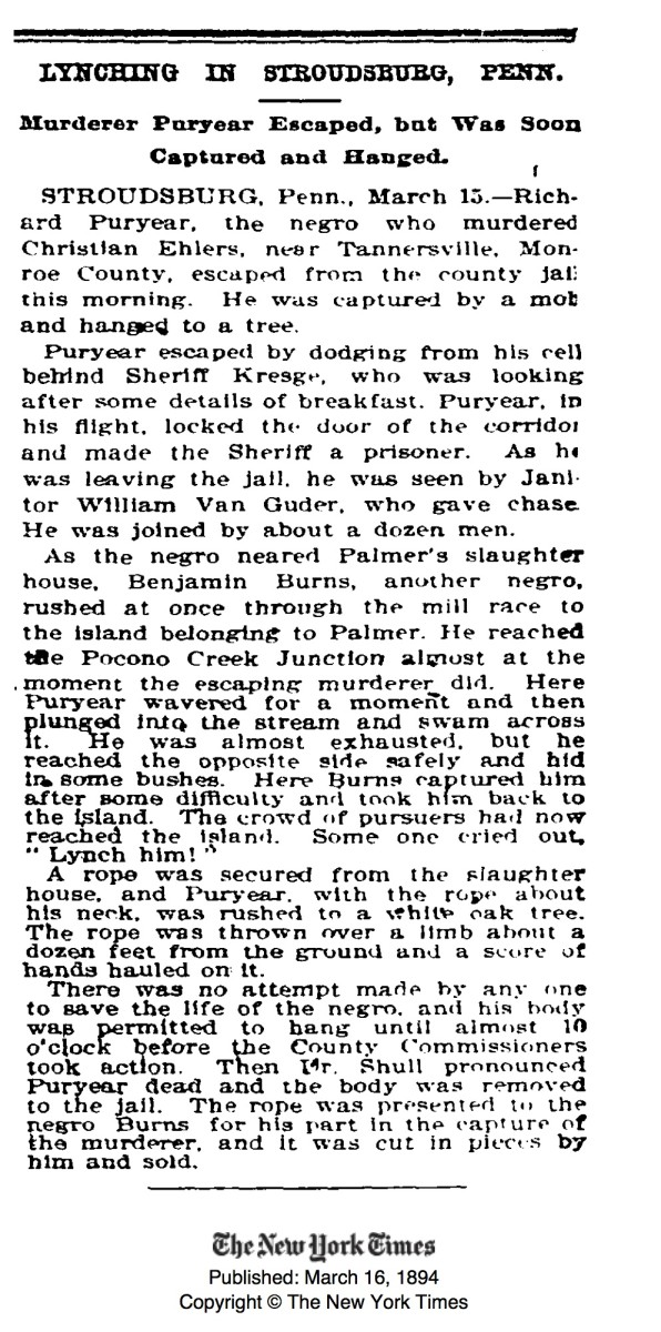Newspaper clipping for the lynching of Richard Puryear.