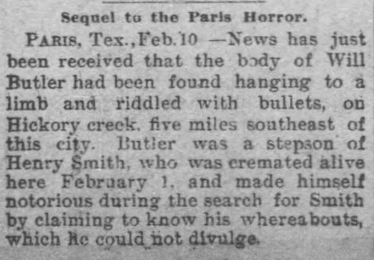 "Newspaper clipping regarding the lynching of William Butler entitled ""Sequel to the Paris Horror."""