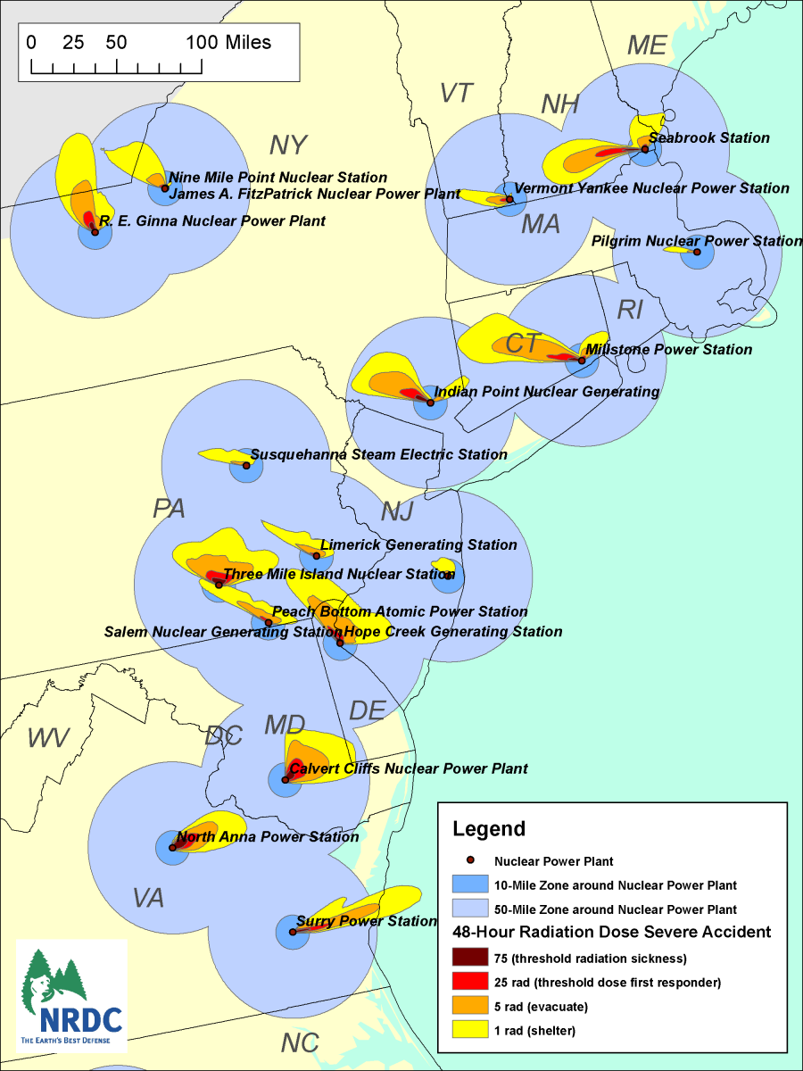 Map of the Eastern Seaboard of the United States if nuclear meltdown should occur, the map gives an idea where the radioactive plumes might drift.