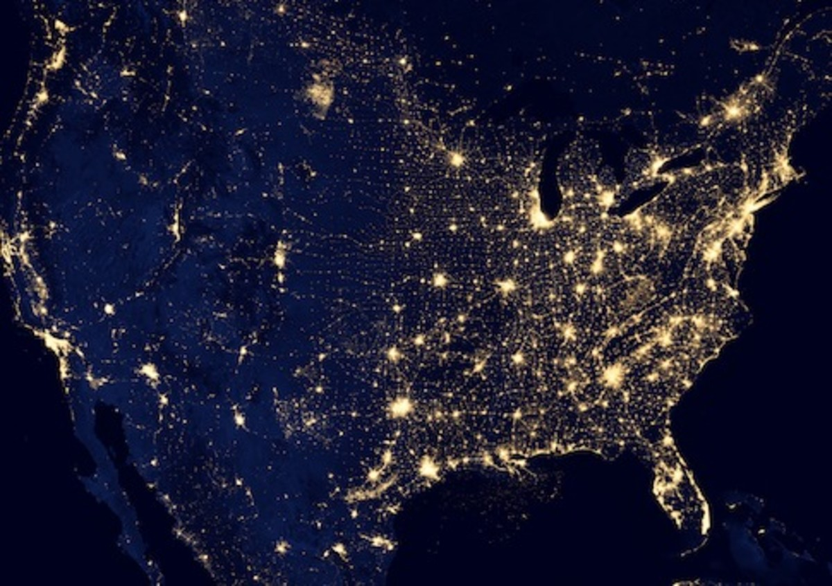 A view of America's power grid at night.