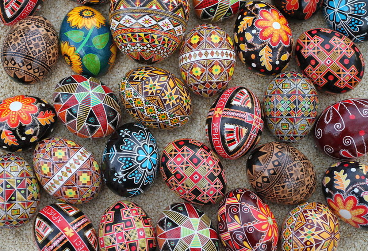 Wax-resist method for Easter eggs