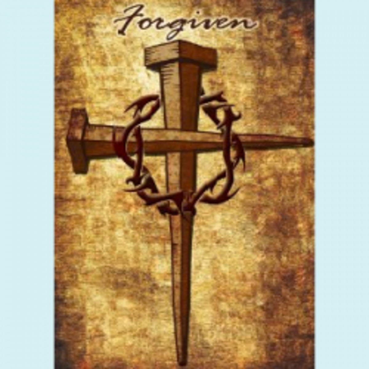 """The glowing brown-and-gold """"Forgiven"""" house and garden flag design features a cross of nails and a crown of thorns, strong symbols of Christ's crucifixion."""