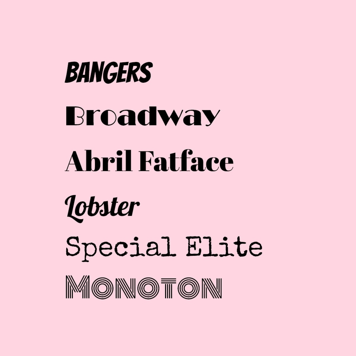 Here are some examples of Display/Decorative typefaces (the typefaces in the photo are in the same size and style regular).
