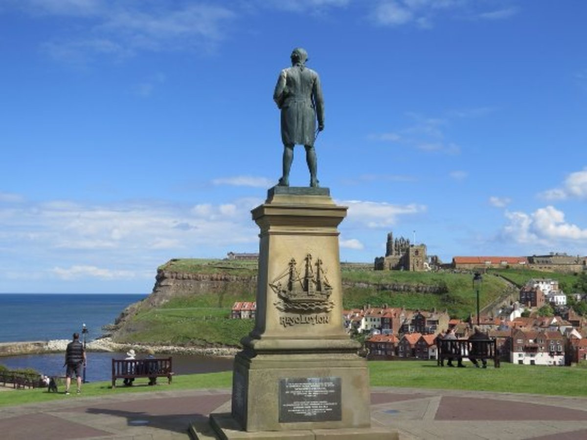 Captain James Cook RN, Fellow of the Royal Society by virtue of the role he played navigating his ships across relatively unknown seas. He gazes out from his plinth on Whitby Westcliff
