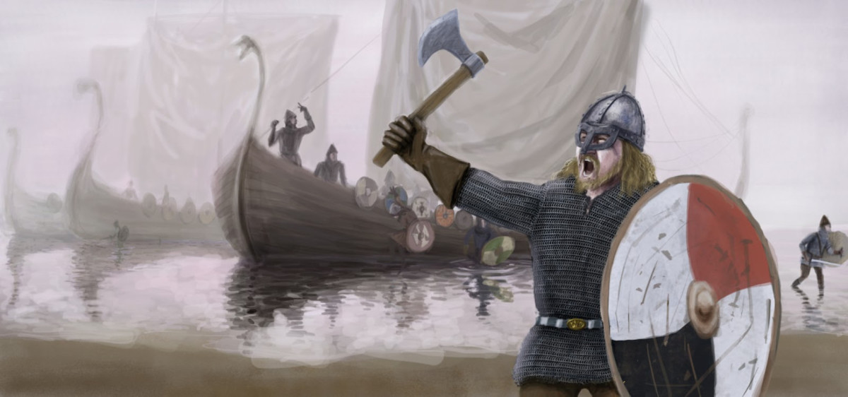 The Danes raid the Anglian coastal town of  Streoneshealh in AD 867-70 - revenge raids on Northumbria for the death of Ragnar 'Lothbrok' , St Hilda's abbey is sacked and looted