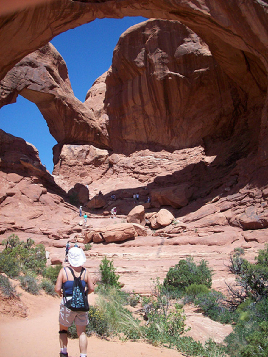 Walking toward Double Arches in Arches National Park, Utah. On a geology trip to the National Parks of Utah in 2008.