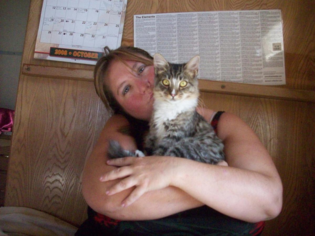 Holding my cat, Yuba in 2008