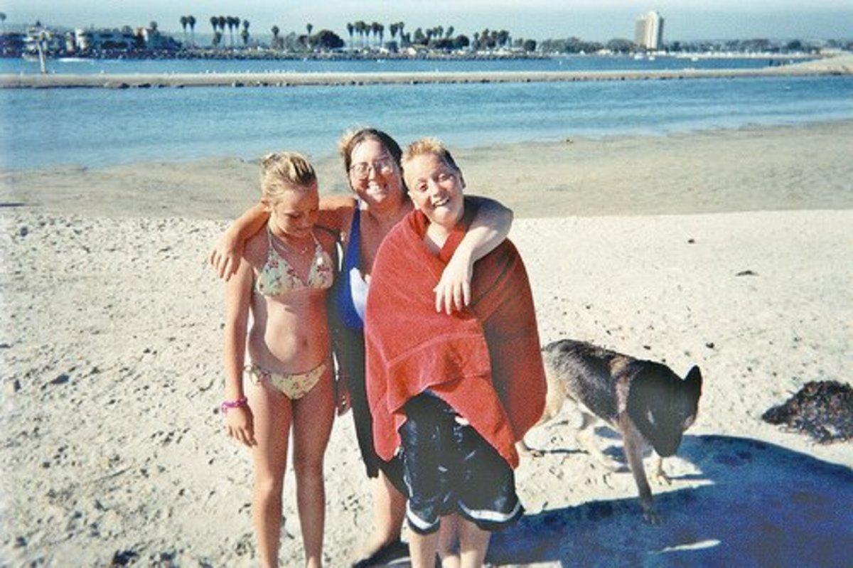 On Dog Beach in San Diego with my niece and nephew, 1993