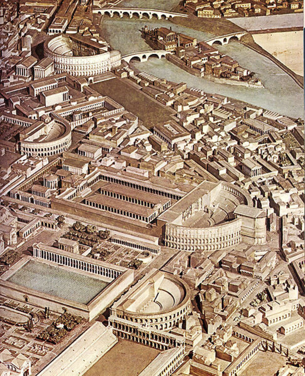 This model of Ancient Rome shows the Campus Martius at the top of the picture.