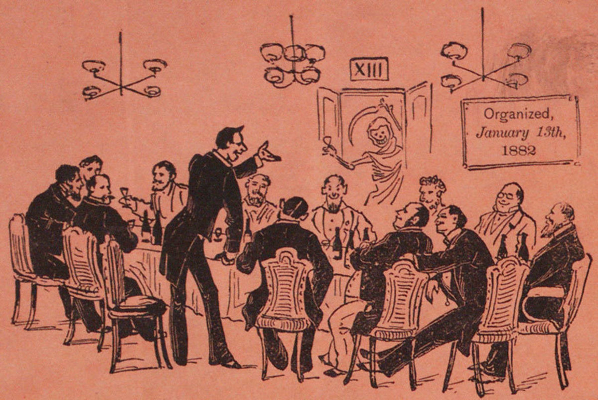 Members of the Thirteen Club listen to a speaker with rapt attention.