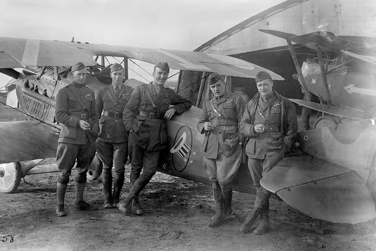 Captain Rickenbacker with his fellow pilots at Foucaucourt Aerodrome France 1918.