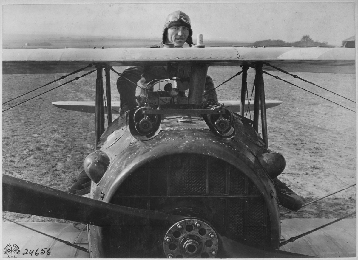 Eddie Rickenbacker in his SPAD S.XIII on the Western Front in 1918. He won the Medal of Honor, seven Distinguished Services Crosses, Legion of Honor among others.