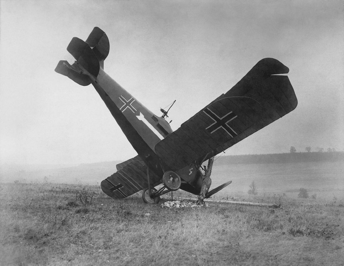 Downed German plane somewhere along the Western Front.