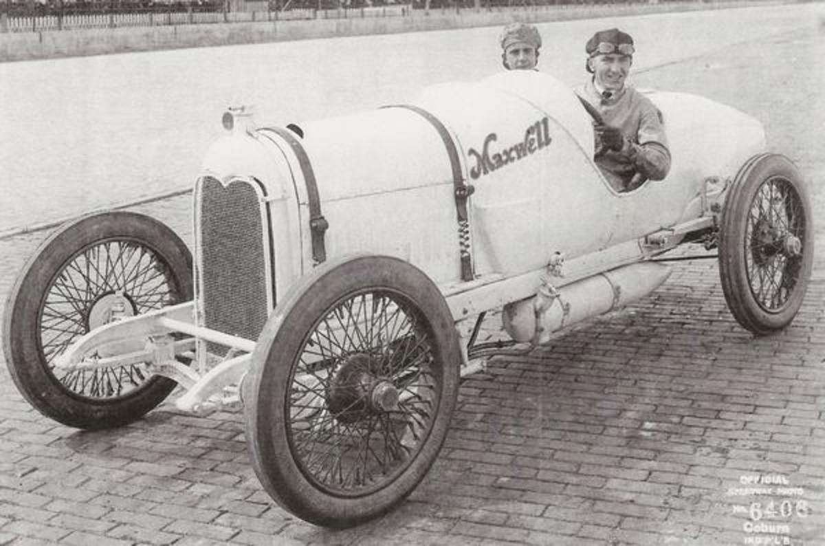 "Rickenbacker in 1915 in his Maxell Special at the Indianapolis 500 that year. He would earn the nickname ""Fast Eddie."""