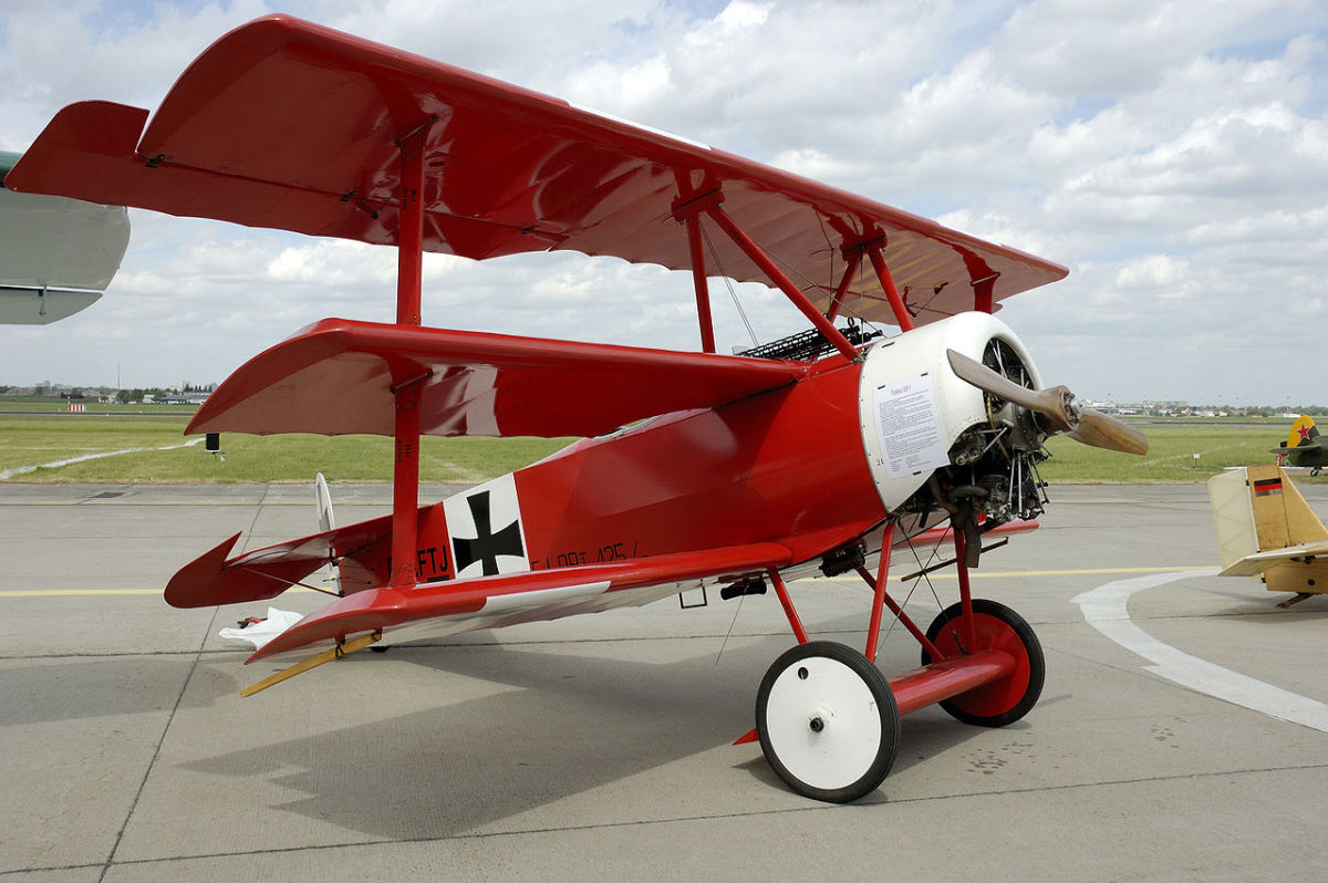 A replica of Richthofen's Fokker Dr.I triplane, at the Berlin Air Show in 2006. The Dr. I triplane was his airplane of his choice due to its maneuverability.