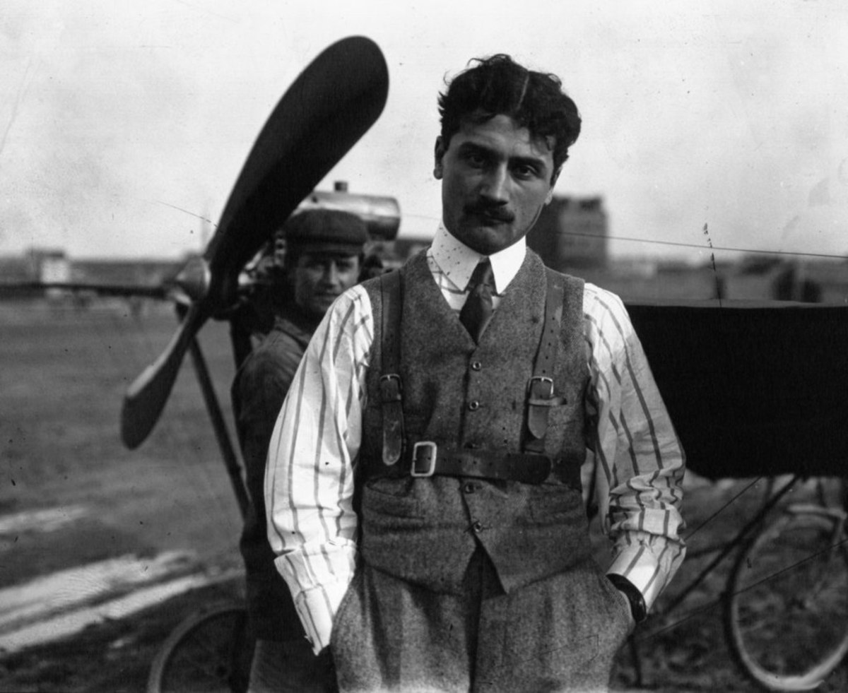 Frenchman Roland Garros the world's first ace. He mounted a machine gun directly in front of him, so aiming the plane aimed the gun.