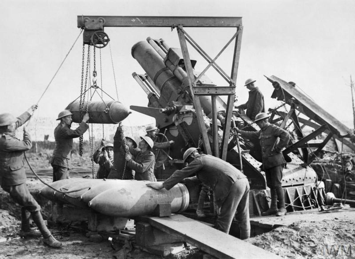 Both sides during the war would use heavy artillery to destroy each others line of defense.
