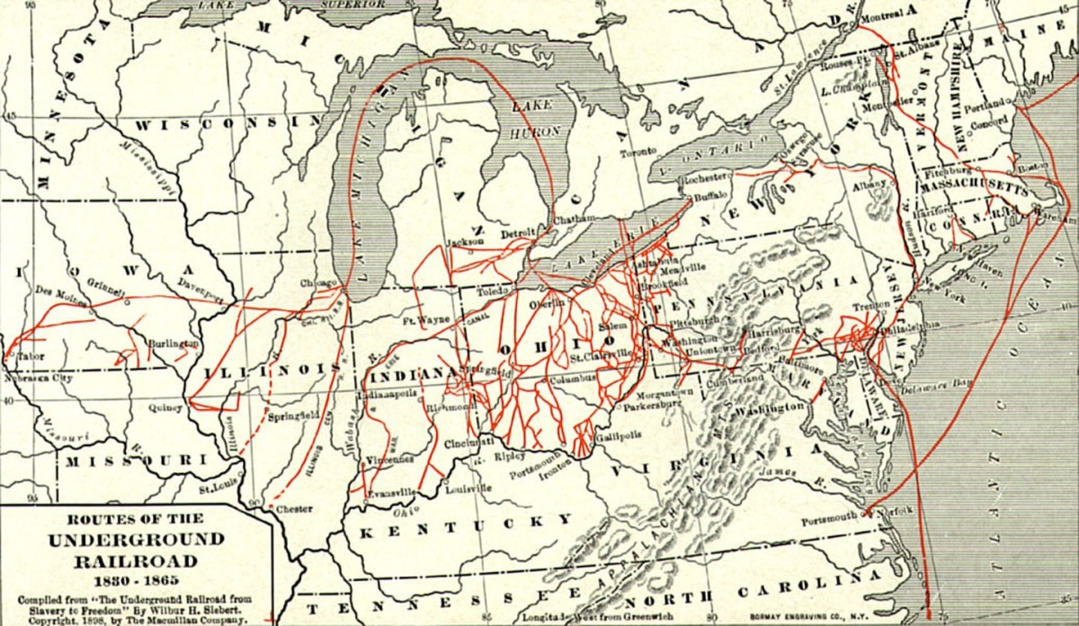 "A map of the Underground Railroad leading to the ""stations"" in Detroit."
