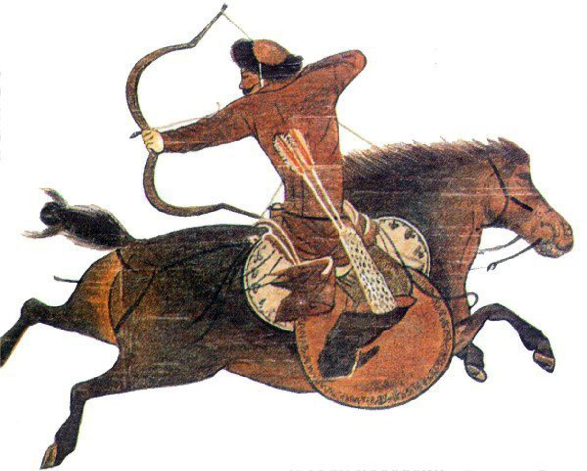 A depiction of a Mongol horse archer.