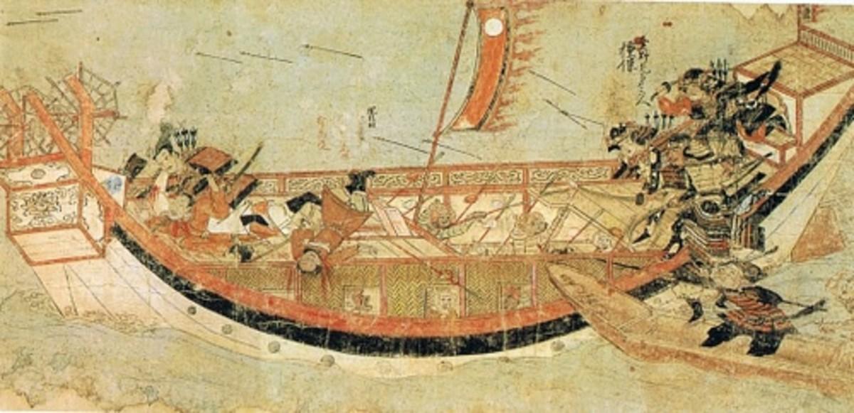 Samurais raiding a Mongol ship.