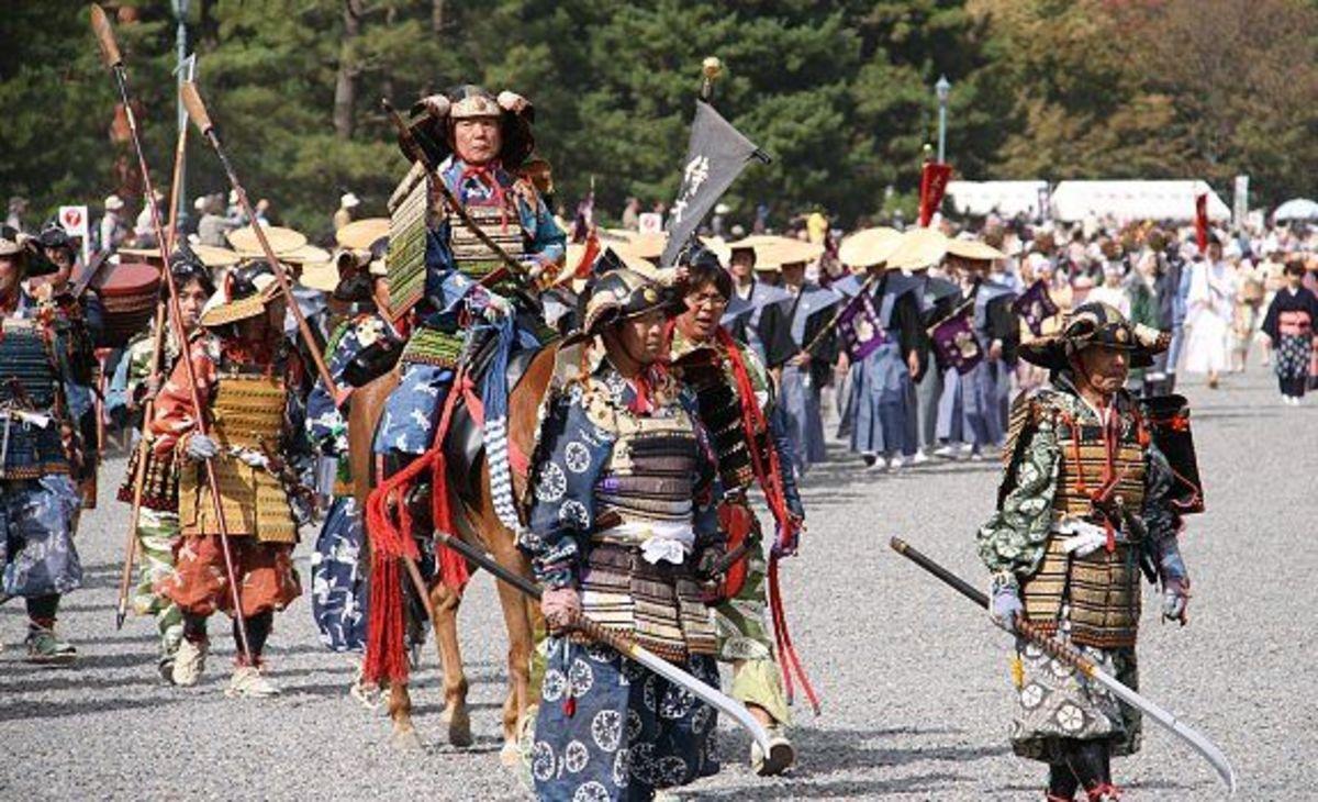 Samurai reenactors, in Kamakura period armors.