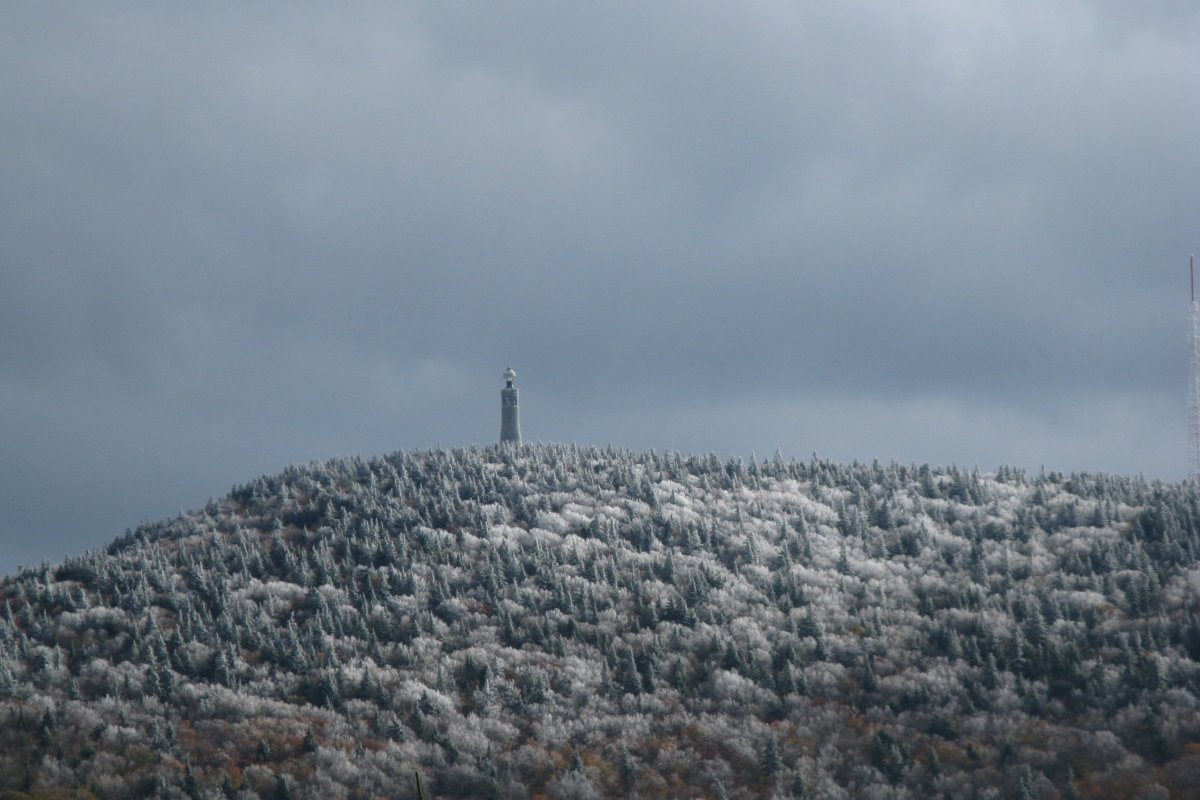A view of Mount Greylock's Veterans Memorial on an overcast winter day.