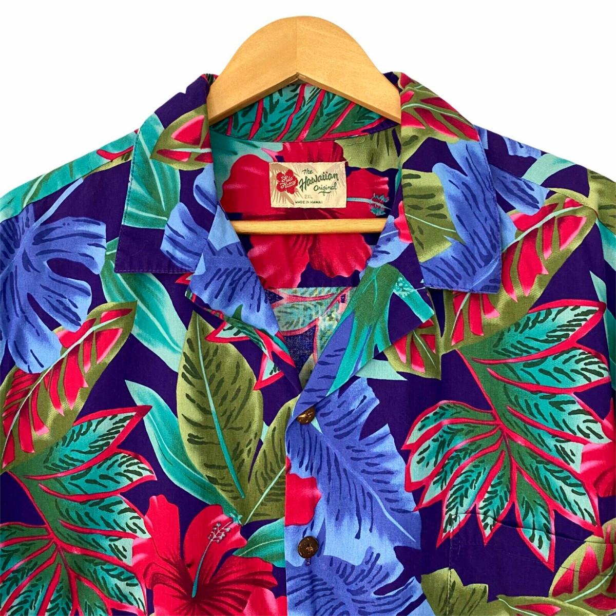 """Hilo Hattie Colorful Men's 2XL Cotton Short Sleeve Hawaiian Shirt Floral Palm Leaf … length 32.5"""" armpit to armpit 28"""""""