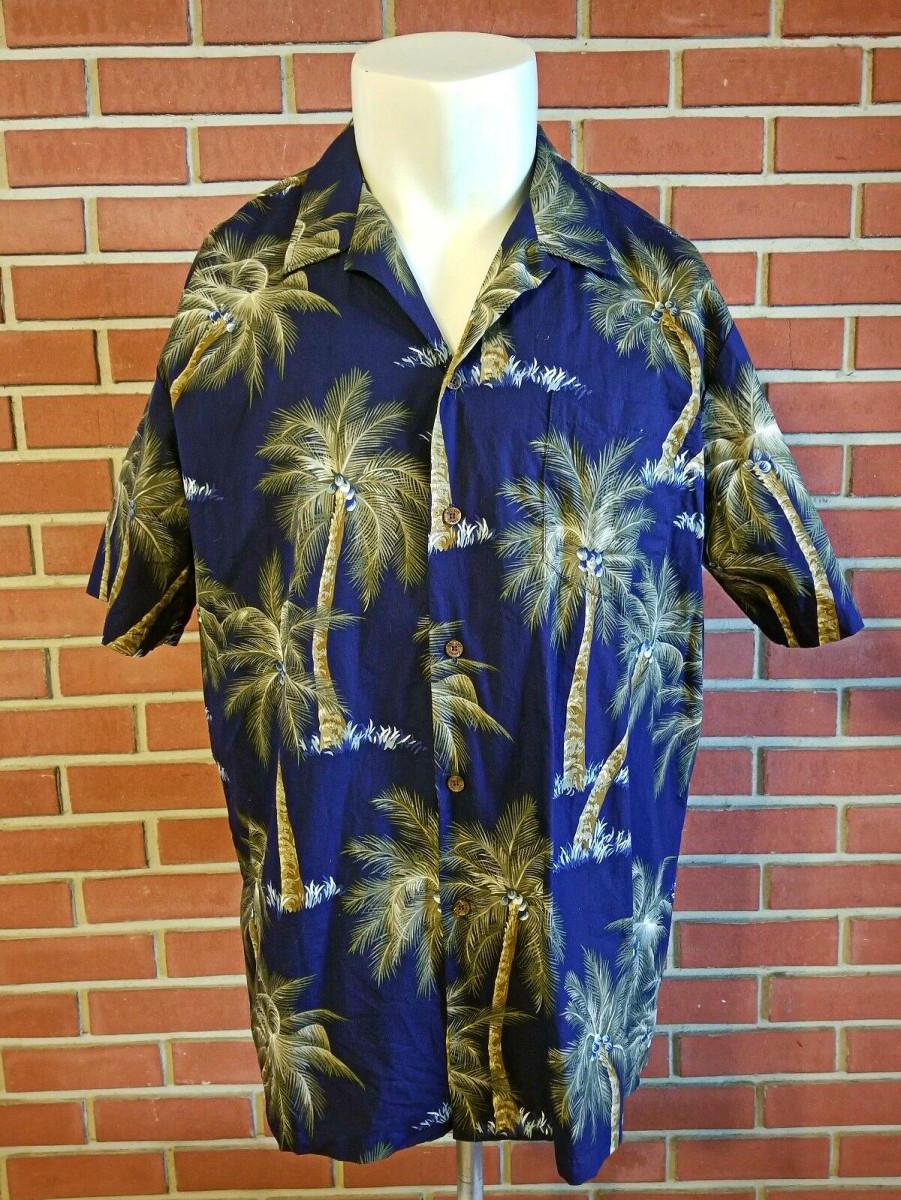 RJC 100% Cotton Hawaiian Short Sleeve Button Front Shirt Made in USA Men's 2XL