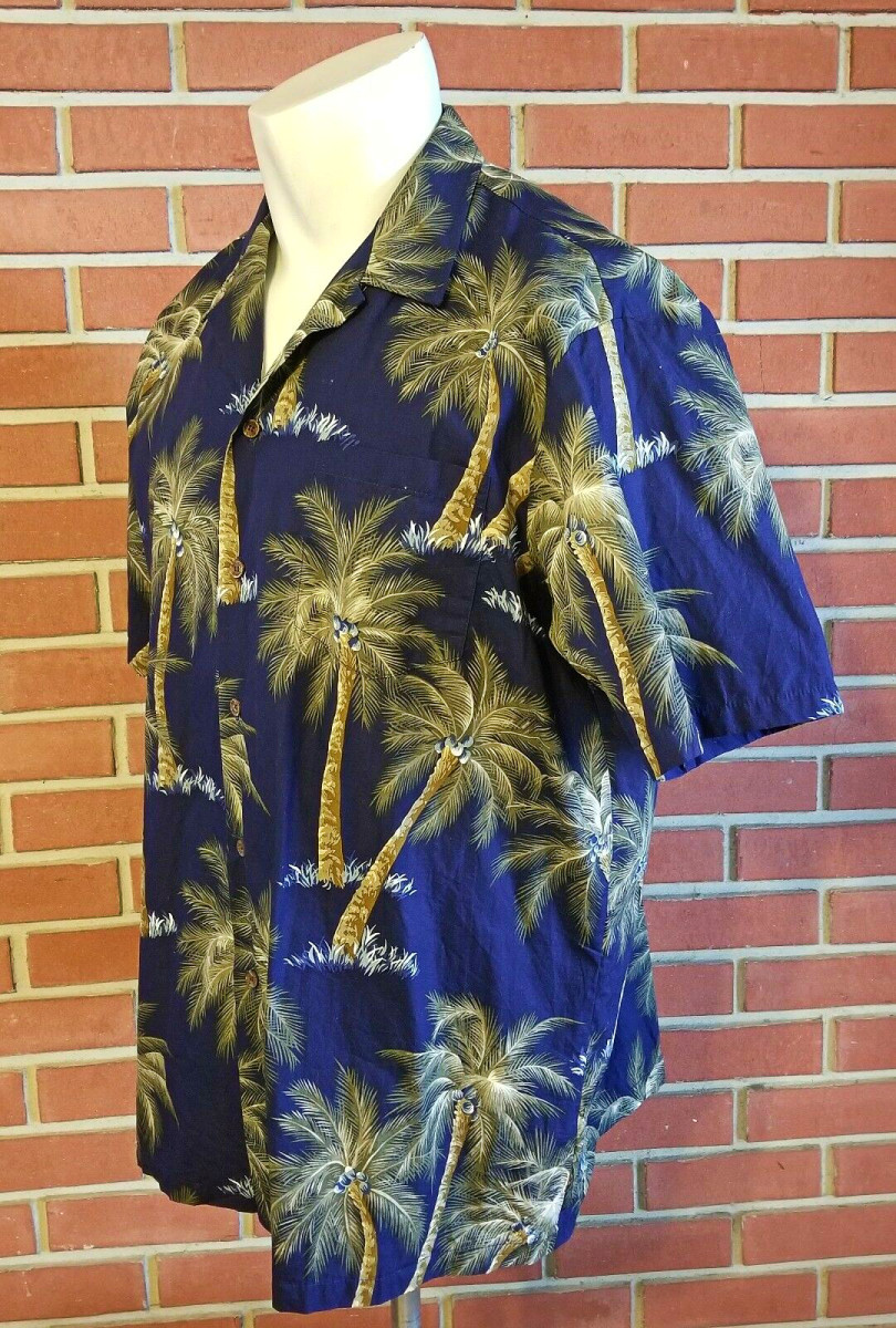 Side Profile of the RJC 100% Cotton Hawaiian Short Sleeve Button Front Shirt Made in USA Men's 2XL