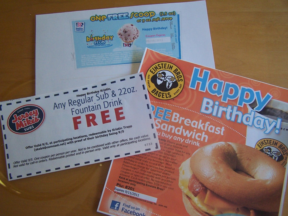 Free food for my 2011 birthday included: Buy one get one scoop of ice cream free from Baskin Robbins; a free regular sub and 22 oz. drink from Jersey Mike's subs; and a free breakfast sandwich with a drink purchase from Einstein Bros. Bagels.