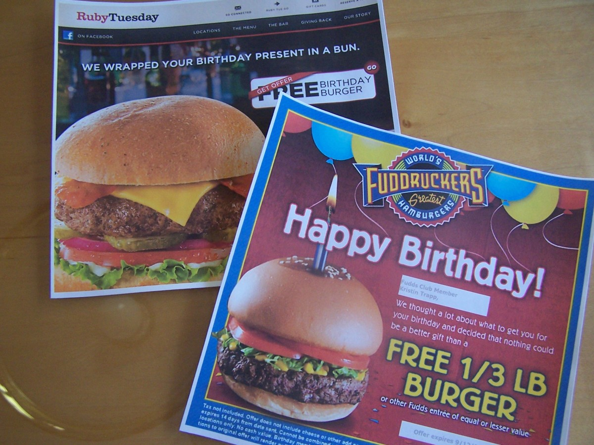 Happy Birthday Club to Me! I got a free burger from Ruby Tuesday and a free 1/3 lb. burger from Fuddruckers.
