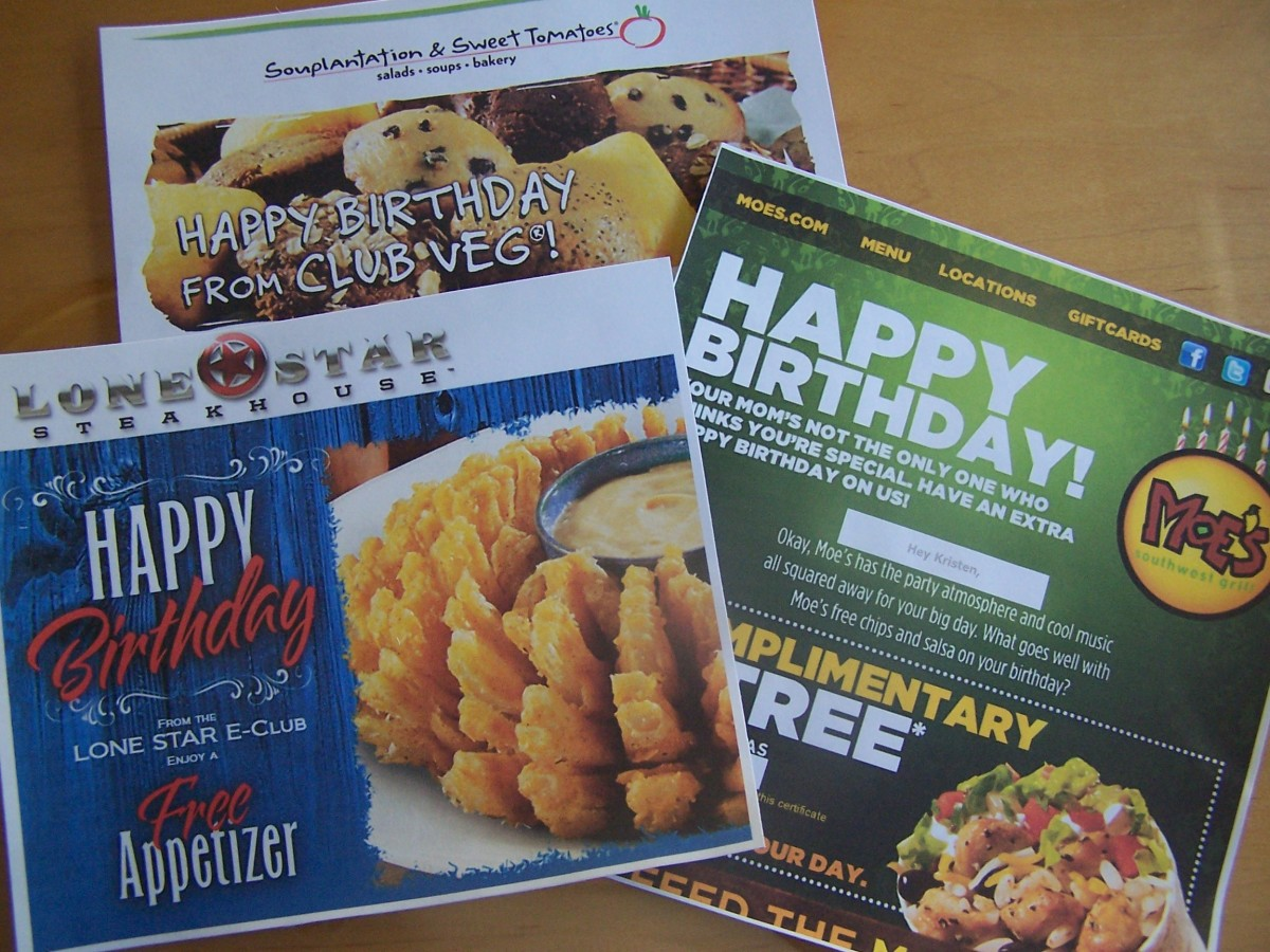 More stuff for free just for joining an online restaurant birthday club, including a free appetizer from Lone Star Steakhouse; a free adult meal with the purchase of another and two drinks from Sweet Tomatoes; and a free entrée from Moe's.