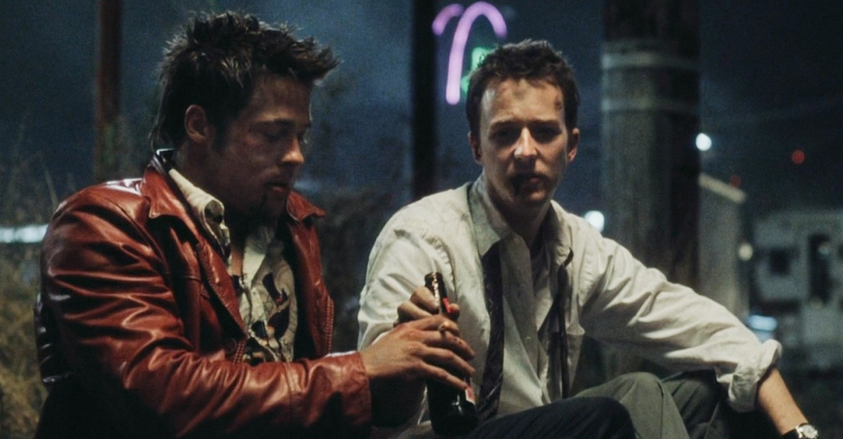 Tyler Durden (Brad Pitt) and the narrator (Edward Norton), in Fight Club (1999)