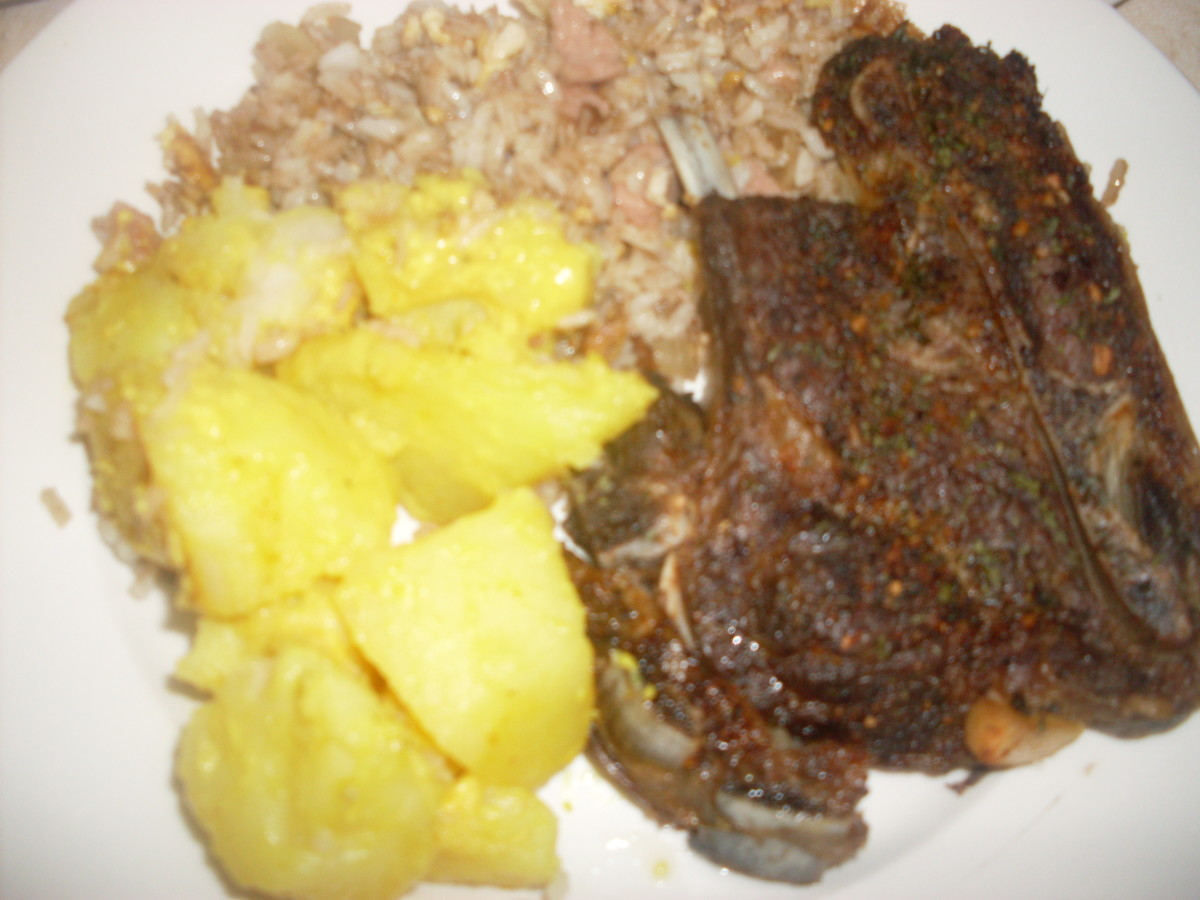 Recipe for Roast Lamb With Curried Potatoes And Fried Rice