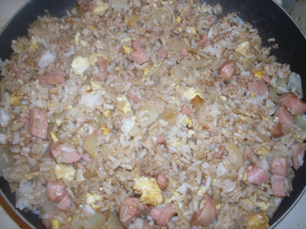 This fried rice is full of flavor. The onion helps to give the fried rice a great taste.