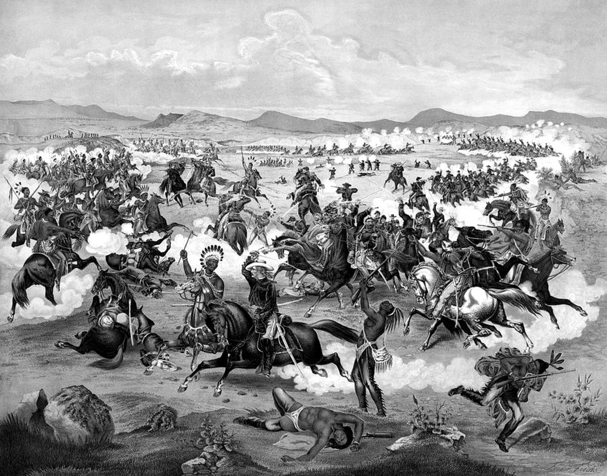 General Custer on horseback with his U.S. Army troops in battle with Lakota Sioux, Crow, Northern, and Cheyenne, on the Little Bighorn Battlefield, June 25, 1876.