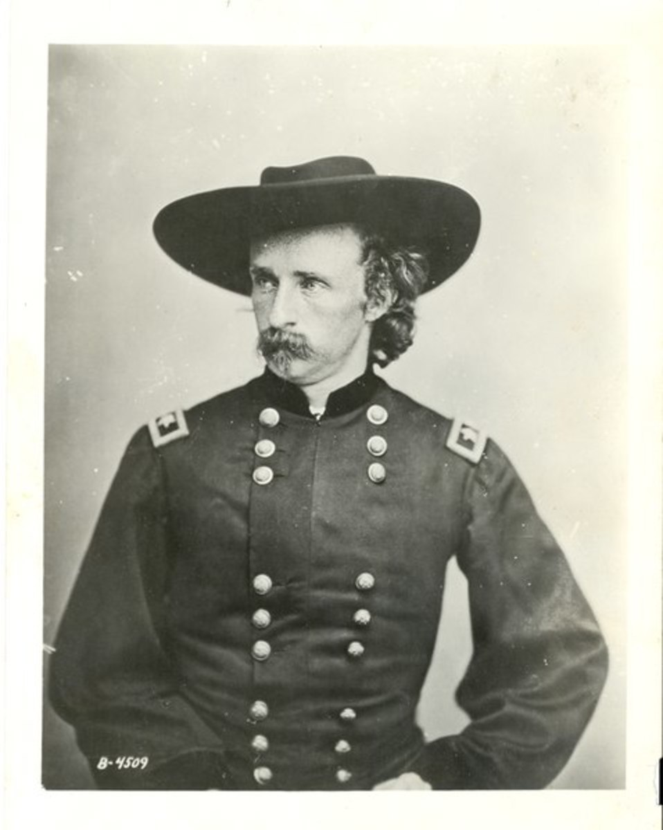 Reproduction of a photograph of General George A. Custer, originally taken in 1865 by Mathew Brady. Courtesy of the National Park Service, Little Bighorn Battlefield National Monument.