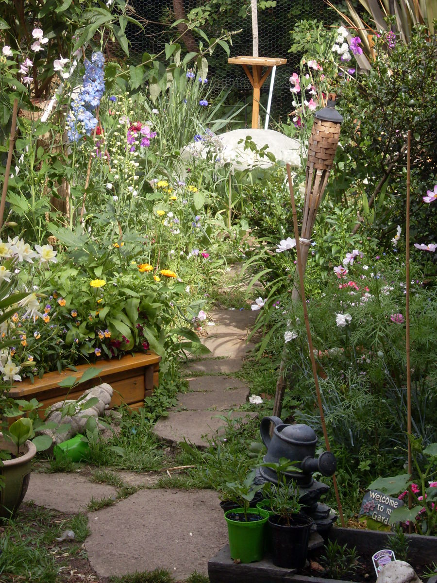 A mixture of flowers planted in a random way, produces the typical English cottage garden look