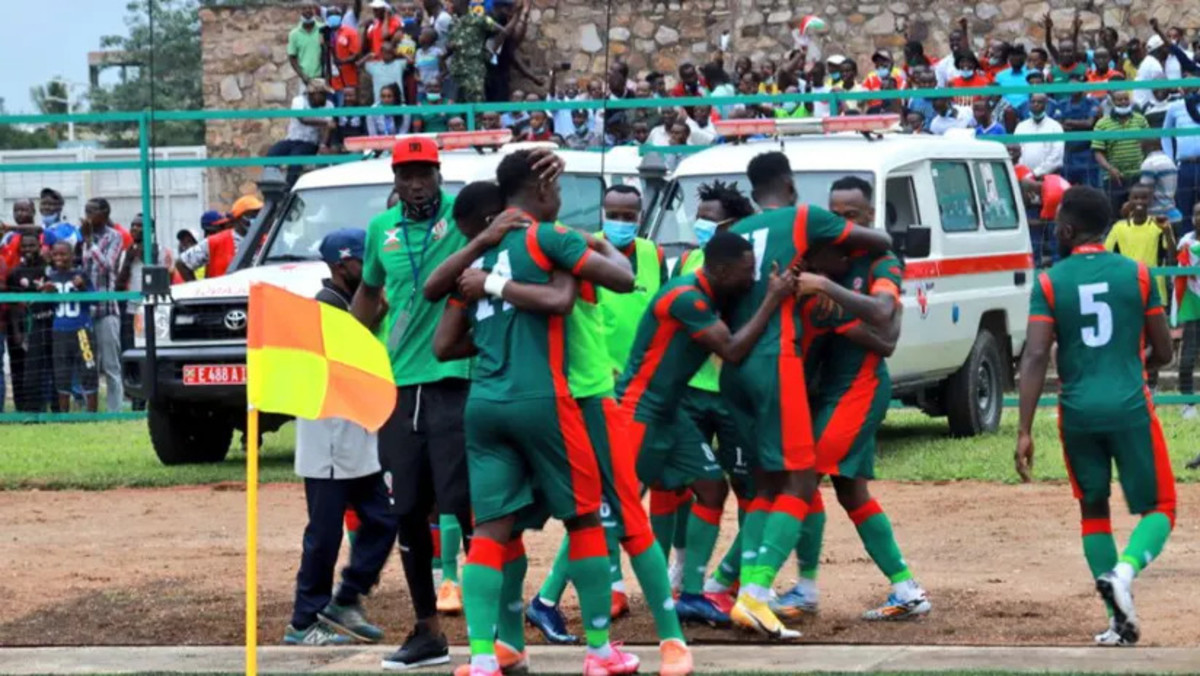 Comoran players celebrate inside Stade Omnisports de Malouzini during a 2021 Africa Cup of Nations qualifier against Kenya on Nov. 15, 2020. Comoros qualified for the 2021 Africa Cup of Nations four months later.