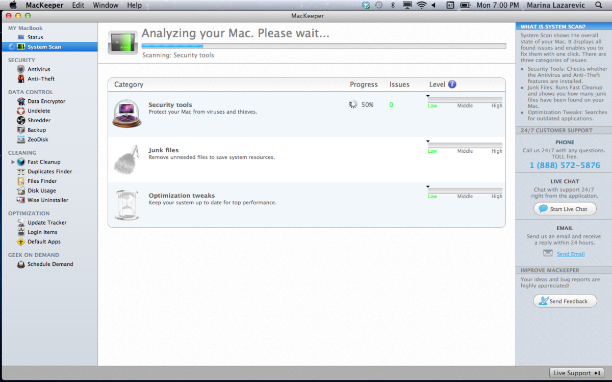 MacKeeper UI. Note Live Chat in right sidebar. iTunes-like menu in the left sidebar.