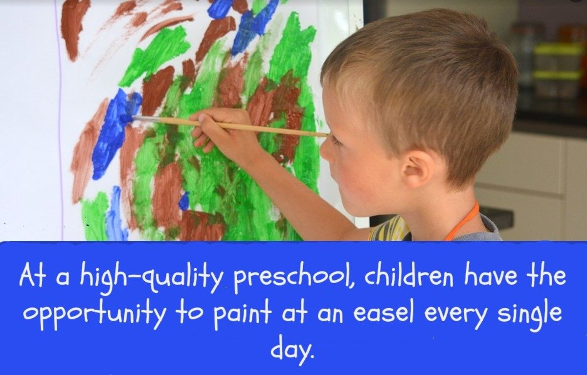 A top-notch preschool has teachers who understand the importance of open-ended art: painting, drawing, printmaking, collage making, and molding with clay.