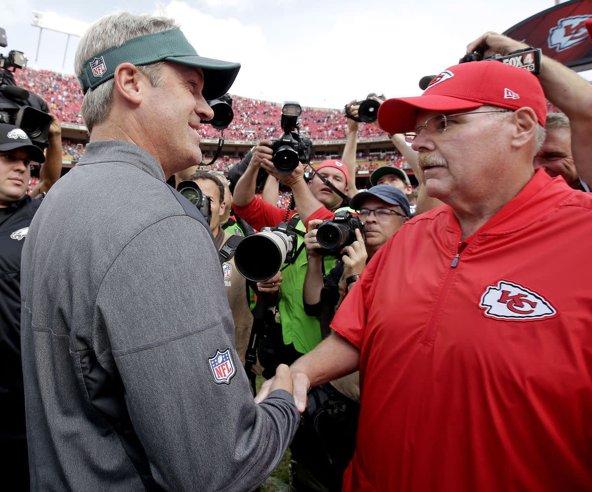 Philadelphia Eagles head coach Doug Pederson and Kansas City Chiefs head coach Andy Reid after the Chiefs' Week 2 win