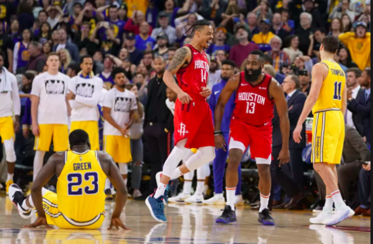 James Harden stares down Draymond Green after hitting a game-winner in OT