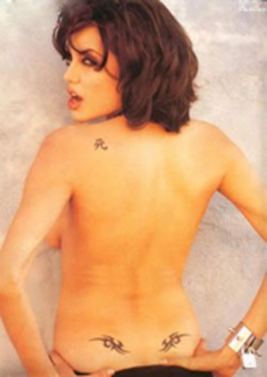 Angie's tribal back tattoos