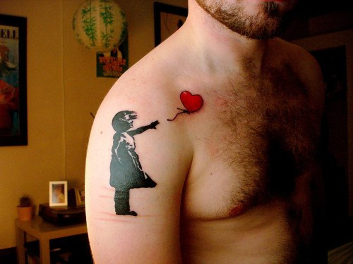The stenciled images of graffiti artist Banksy make for great tattoo work.